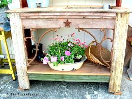 Wooden Potting Benches I Love That Junk Selectively Salvaged Wood Potting Bench Julie