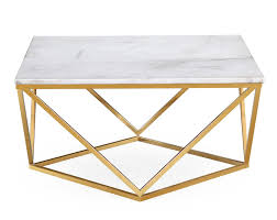 Gold Table L Santorini Brushed Gold Gloss White Coffee Table White Coffee