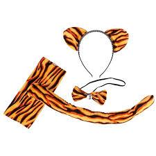 tiger headband costume accessories orange tiger print cat ear headband bow tie