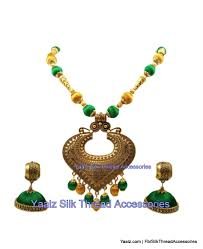 jhumka earring yaalz antique chain neckset matching jhumka earring combo in green a