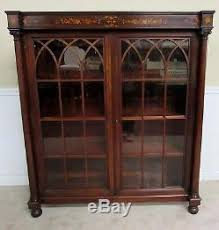 Vintage Bookcase With Glass Doors Antique Bookcase Cabinet Locking Glass Doors Inlaid Mahogany