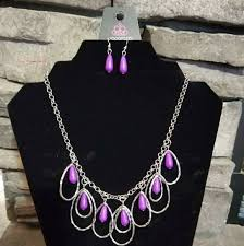 silver purple necklace images Paparazzi jewelry silver purple necklace and earring set poshmark jpg