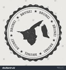 Brunei Map Negara Brunei Darussalam Hipster Round Rubber Stock Vector