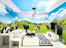 wallpaper for entire wall 3d farm animals mountain cow entire room wallpaper wall murals