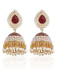 royal bling brass jhumka earrings for women shining