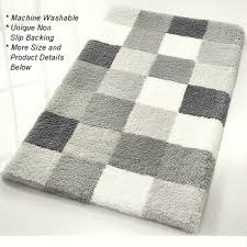 Grey Bathroom Rugs Caro Checker Pattern Rich Multi Color Plush Bathroom Rug