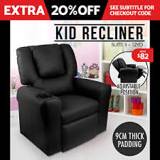 kids black armchair luxury kids recliner sofa children lounge chair padded pu leather