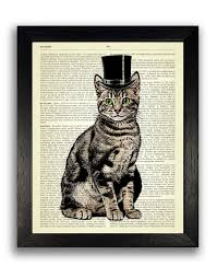 top hat cat art print on dictionary page cat artwork cat