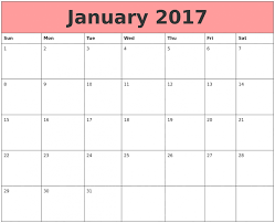 january 2017 calendar printable and monthly pdf word excel
