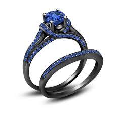 black bridal sets 3 50 ct blue sapphire black 925 sterling silver engagement