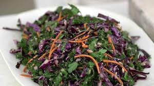 kale slaw with carrots and peppers