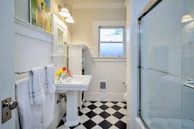 Pedestal Sink With Towel Bar Bathroom Small Bathroom Décor With Black And White Tiled