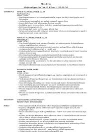 inside sales resume manager inside sales resume sles velvet