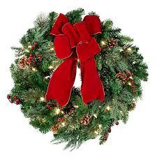 lighted christmas wreath pre lit classic lighted christmas wreath 24 improvements