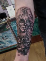 day of the dead tattoos black and grey