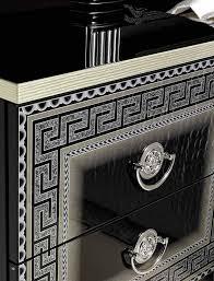 aida traditional bedroom set in black silver bed 2 nightstands