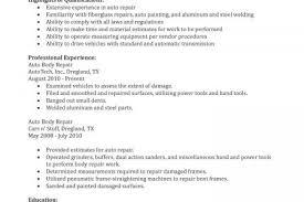 Auto Mechanic Resume Samples by Auto Body Repair Resume Sample Auto Body Collision Repair Resume