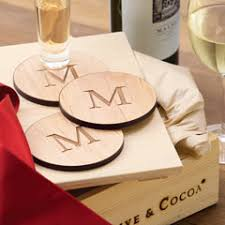 personalized wood coasters all gifts olive cocoa
