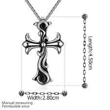 titanium cross necklace images Cool man black titanium steel necklace cross pendant jpg