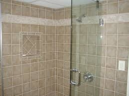 bathroom white ceramic tiles floor wall corner blue mozaic glass