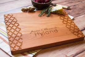 wedding cutting board modern pattern personalized hardwood cutting board wedding gift