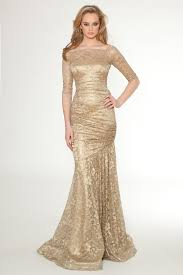 gold floor length lace bridesmaid dress with three quarter sleeves