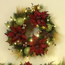 decorations poinsettia wreath with sparkling