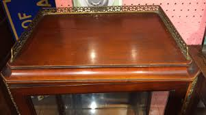 Antique Curio Cabinet With Desk 1930s Walnut Satinwood French Louis Xv Style Curio Cabinet Gold