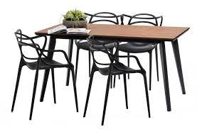 walnut bruno dining table set with 4 black phillipe starck master