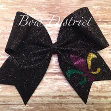 mardi gras bow 3 black glitter mardi gras fleur de lis from bowdistrict on