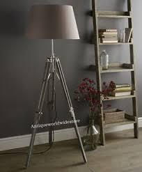 vintage wooden tripod floor lamp light transit grey tripod old