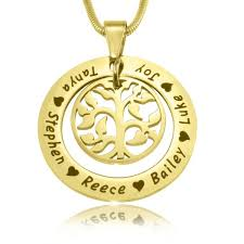 personalised necklaces personalised jewellery my family tree necklace gold fever