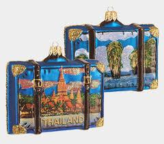 thailand travel suitcase blown glass ornament