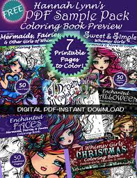 free hannah lynn 7 page pdf sample pack coloring book instant