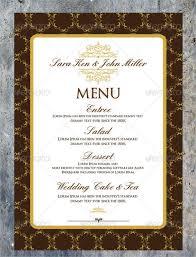 wedding menu cards template sle wedding menu templates free