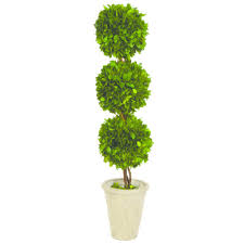 Artificial Boxwood Topiary Trees Boxwood Collection 24 In Preserved Boxwood Triple Ball Topiary In