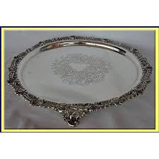 engraved silver platter sterling silver tray salver