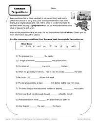 preposition worksheet common prepositions prepositions