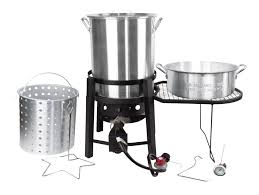 notice the deep fry propane cooker pan dipping basket funnel box