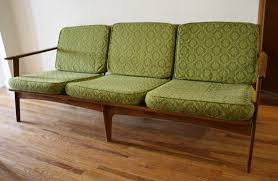 Wooden Sofa Chair Furniture Green Mid Century Sofa Seen From The Side With Wooden