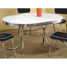 50 s diner table and chairs coaster 50s retro nostalgic style oval dining table chrome plated ebay