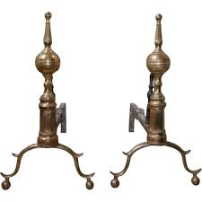 pair antique american new york federal bell metal fireplace