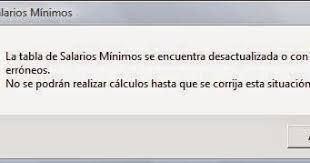 salarios minimos se encuentra desactualizada o con datos erroneos sua el tecnico web la tabla de salarios minimos se encuentra desactualizada
