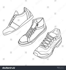 outline sport shoes set different angles stock vector 121441222
