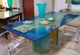 Teal Dining Table Relaxing Marine Glass Collection Dining Table
