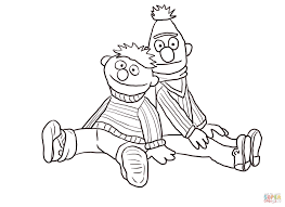 bert and ernie sitting and leaning coloring page free printable