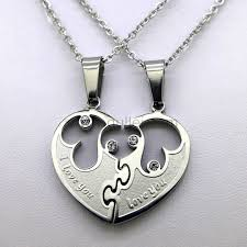 couples heart necklace images Personalized couples half heart jewelry necklace for 2 jpg