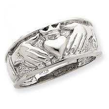 mens claddagh ring 14k white gold men s claddagh ring salmajewelry