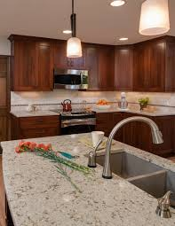 what backsplash looks with cherry cabinets cambria windermere cabinets backsplash ideas