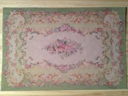 dollhouse miniature green aubusson rug with pink roses scale